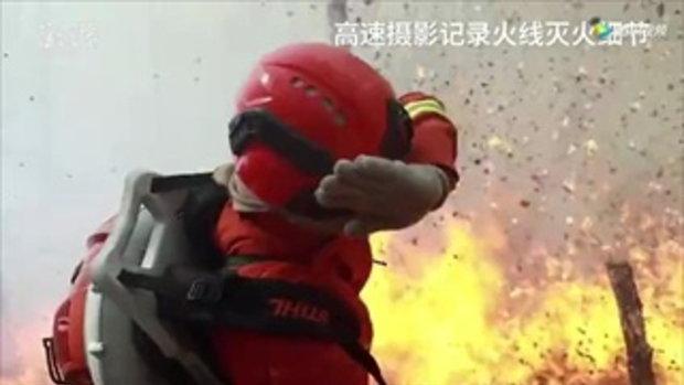 เผยภาพดับเพลิงและจนท.จีนราว 9,000 คน เผชิญไฟป้าที่มองโกเลียใน
