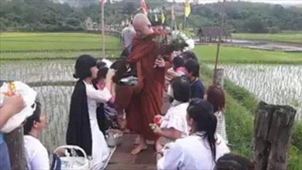 ตักบาตรบนสะพานไม้ซูตองเป้อำเภอเมืองแม่ฮ่องสอน