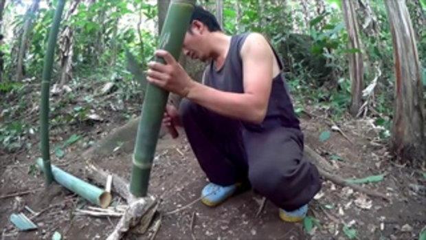 เจ๋งไปเลย!! สร้างบ้านในป่ากล้วย ทำกับข้าวกินข้าวกับไส้กล้วยเผา ธรรมชาติฟินสุดๆ