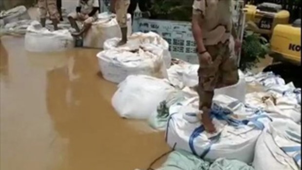 รายงานสถานการณ์น้ำท่วมจากพนังกั้นน้ำยม จ. สุโขทัย 28 ก.ค.60