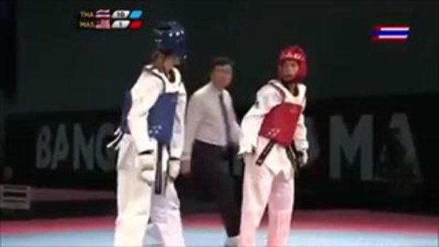 โคตรสะใจ!! น้องเทนนิส ไล่เตะ นักเทควันโด้ มาเลเซีย ชนะขาดลอยด้วยเเต้ม 39-1 คว้าเหรียญทอง