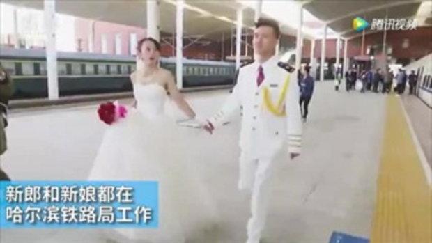 รถไฟสื่อรัก...บ่าวสาวจีนจัดงานวิวาห์บนรถไฟความเร็วสูง