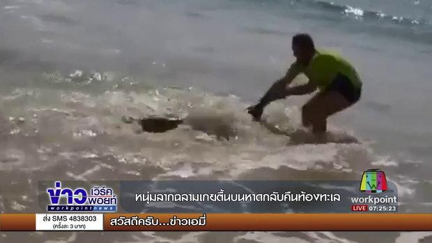 หนุ่มลากฉลามเกยตื้นบนหาดกลับคืนท้องทะเล l ข่าวเวิร์คพอยท์ l 21 ก.ย.60