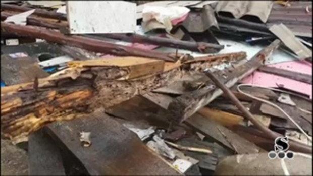Sakorn News : บ้านไม้พังถล่มทับคนงานเสียชีวิต