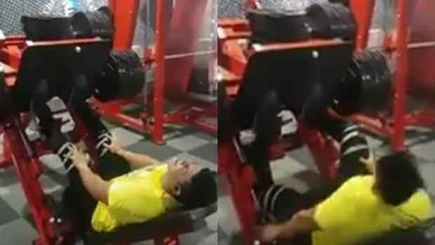 คลิปหวาดเสียว หนุ่มโชว์ฟิตกล้ามขา แต่น้ำหนักเกินต้าน ขาบิดคาเครื่อง