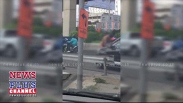 ชายคลั่ง! วิ่งกระโดดใส่รถ หน้าเขตจตุจักร