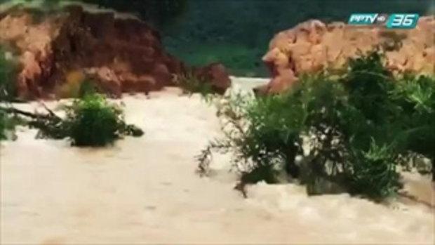 ลพบุรีอ่วม! อ่างเก็บน้ำบ้านเพนียดคันดินพังน้ำทะลักท่วมนาข้าว