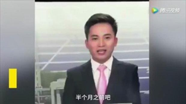 ผู้ประกาศหนุ่มจีนผวาหนัก ผึ้งบินเกาะหน้าขณะรายงานข่าว