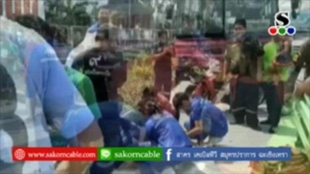 Sakorn News : รถกระบะเฉี่ยวชนรถจักรยานบาดเจ็บ
