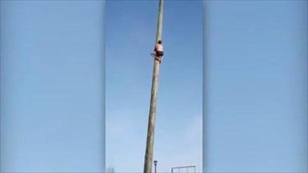 ระทึก หนุ่มรัสเซียลื่นตกเสา 7 เมตร ร่างกระแทกพื้น เจ็บสาหัส