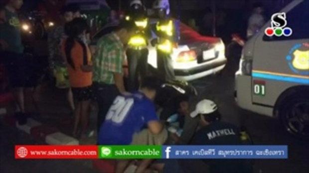 Sakorn News : รถจักรยานยนต์เฉี่ยวชนรถบัสรับส่งพนักงานบาดเจ็บ