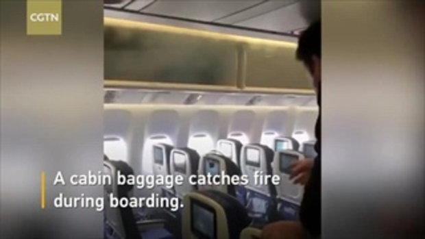 ผู้โดยสารแตกตื่น! พาวเวอร์แบงก์ไฟลุกกลางเครื่องบิน แอร์ฯสาวคว้าขวดน้ำสาดดับทัน