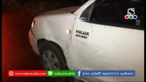 Sakorn News : รถจักรยานยนต์ข้ามเกาะกลางถนนชนรถกระบะ