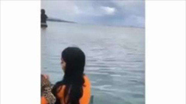 เหลือเชื่อ สาวเซ็กซี่อุ้มเสือดาว เสือโคร่งลงเล่นน้ำทะเล แถมให้นอนหนุนตักด้วย