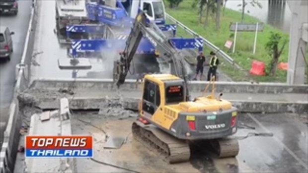 นาทีระทึก! วงจรปิดจับภาพ คานสะพานลอยร่วงปิดถนน รังสิต-นครนายก รถติดยาว 10 กม.