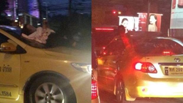 ตกใจกันทั้งถนน หญิงนั่งมอไซค์มา แล้วอยู่ดีๆก็ลงไปนั่งบนกระโปรงรถแท็กซี่