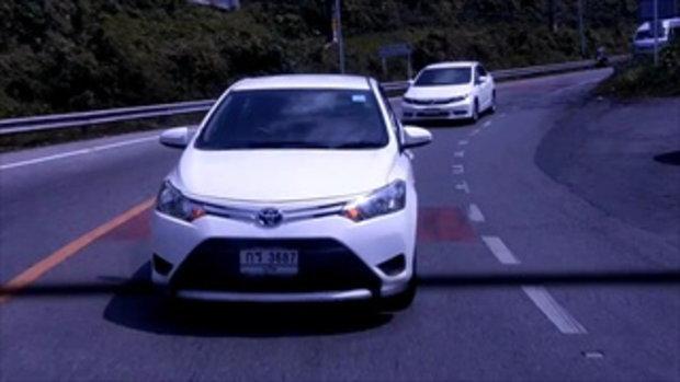 วิจารณ์ยับ เก๋งขับรถตามรถพยาบาลแบบกระชั้นชิด ถนนโค้งและเขาชันมาก