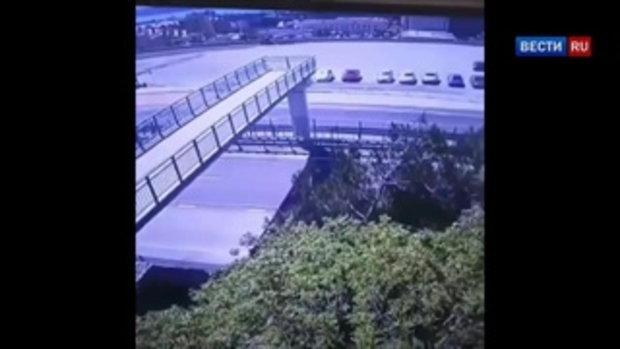 ดวงไม่ถึงฆาต! หนุ่มเมาไต่หลังคาสะพานลอย ลื่นตกใส่เก๋งขับซิ่งผ่านพอดีเป๊ะ