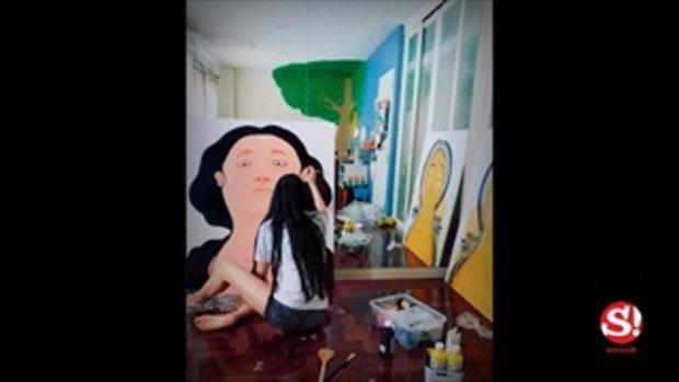 ยิปโซ เปลี่ยนห้องนอนเป็นแกลเลอรี่ เพนต์ผนังด้วยภาพวาดฝีมือตัวเอง