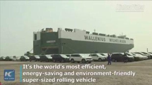 ใหญ่ยักษ์อลังการ เรือขนส่งยานยนต์ของจีน จุรถยนต์ได้ถึง 8,000 คัน