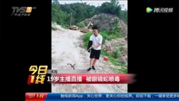 หนุ่มเน็ตไอดอลจีนโชว์เท่ ไลฟ์สดจับงูเห่า สุดท้ายโดนพ่นพิษใส่ตา