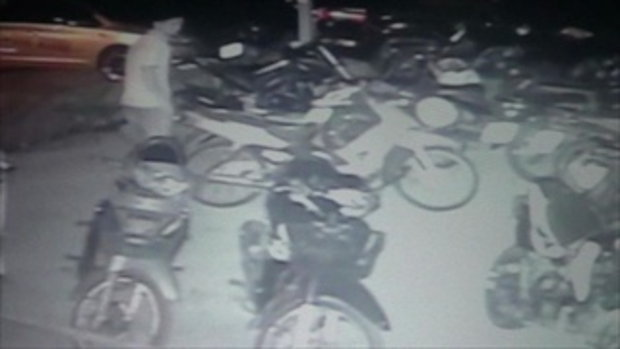 คนร้ายใจเย็น ย่องลักรถจักรยานยนต์หลบหนีลอยนวล
