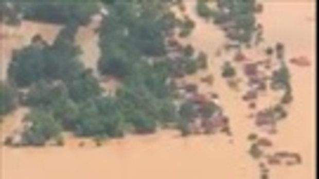 ภาพมุมสูง ลาวเขื่อนแตก มวลน้ำทะลักท่วมมิดหลังคา-คนสูญหายนับร้อย