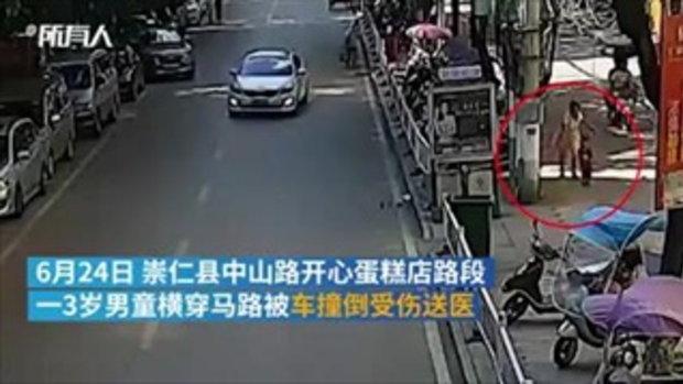 หนูน้อยวัย 3 ขวบ หลุดมือย่า วิ่งข้ามถนนโดนรถชนกระเด็น
