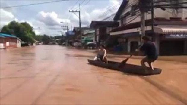 น้ำทะลักตัวเมืองน่านแล้ว - ชุมชนท่าล้อจม 2 เมตร
