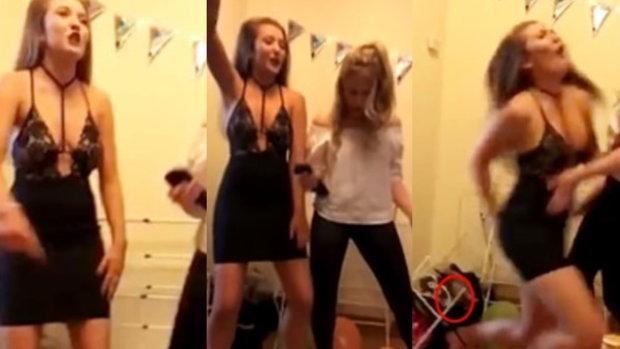 จุดจบสายย่อ! สาวเต้นกำลังมัน กำลังงัดท่าสาละวันเตี้ยลง ลืมมองข้างหลัง