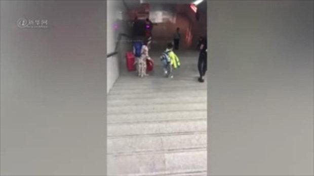 ชาวเน็ตจีนถูกใจ เด็กชายหิ้วกระเป๋าเดินลงบันไดเอง หลังเห็นแม่ถือข้าวของเยอะ