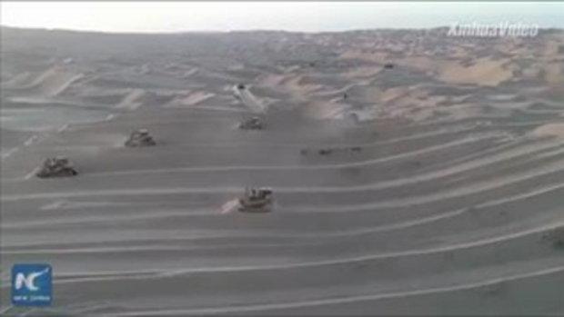 ตื่นตา เผยภาพงานสร้างถนนบนทะเลทรายแห่งความตาย