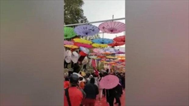 ให้มันได้อย่างนี้สิ! โซเชียลจีนถล่มเละ คนตีมึนปีนแย่งเก็บร่มงานเทศกาล