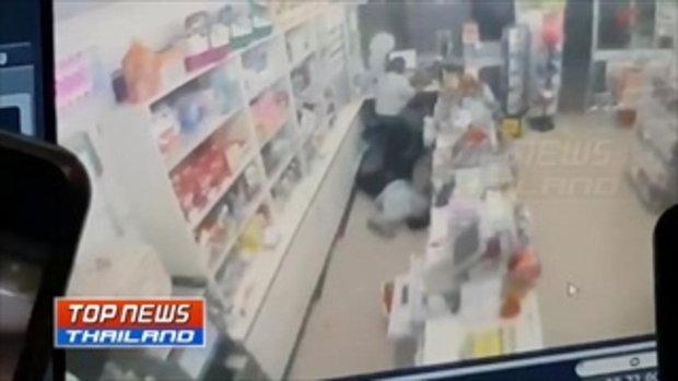ผัวหึงโหดอุ้มลูก 4ขวบ บุกยิงเมียดับคาร้านสะดวกซื้อ