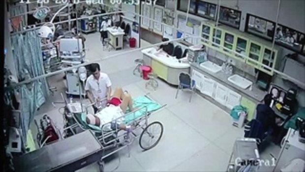 เปิดภาพวงจรปิดโชว์สื่อ วินาทีดราม่าญาติอ้างบุรุษพยาบาลชกหน้าพ่อ