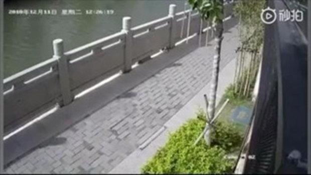 ชายจีนโดนด่ายับ หลังแกล้งถีบแมวตกแม่น้ำ แถมยืนหัวเราะเบิกบานใจ
