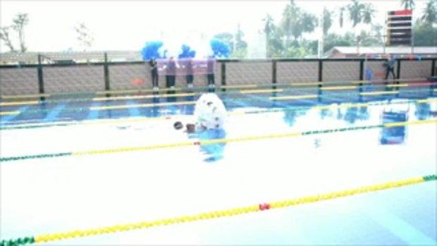 พิธีเปิดแข่งขันว่ายน้ำสุดฮา กว่าจะได้เปิดงานทั้งลุ้นทั้งเหนื่อย