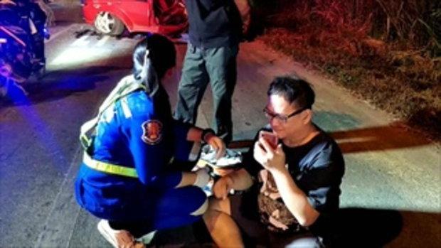 หนุ่มแบงก์ราชบุรีเมาแล้วขับ กล้องจับชัด-กินเลนเฉี่ยวประสานงา 3 คันซ้อน