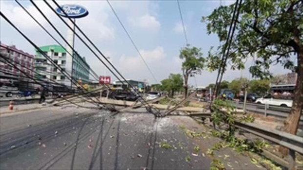 สาวซิ่งกระบะชนเสาไฟฟ้าล้ม 12 ต้น ซวยซ้ำรถทะเบียนขาด-ไม่มีประกัน