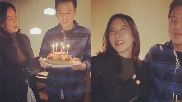 คริส หอวัง หอบเค้กเซอร์ไพรส์วันเกิดแฟน