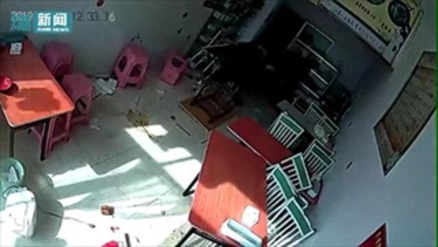 วัวกระทิงหนีโรงเชือด วิ่งเตลิดเข้าร้านอาหารพังเละ ขวิดหญิงชุดแดงหวีดร้องเสียงหลง