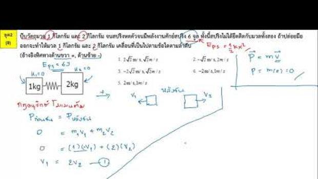 ตีโจทย์ PAT 2 ฟิสิกส์ (by TutorNat) ชุดที่ 2 ข้อ 8 กฎอนุรักษ์พลังงานและโมเมนตัม