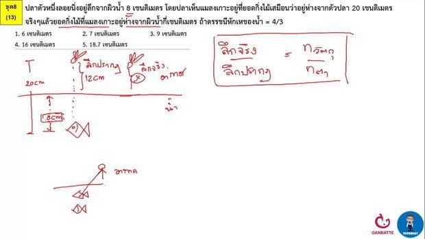 ตีโจทย์ PAT 2 ฟิสิกส์ (by TutorNat) ชุดที่ 8 ข้อ 13 แสง