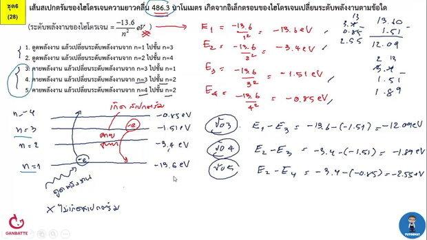 ตีโจทย์ PAT 2 ฟิสิกส์ (by TutorNat) ชุดที่ 6 ข้อ 28 ฟิสิกส์อะตอม