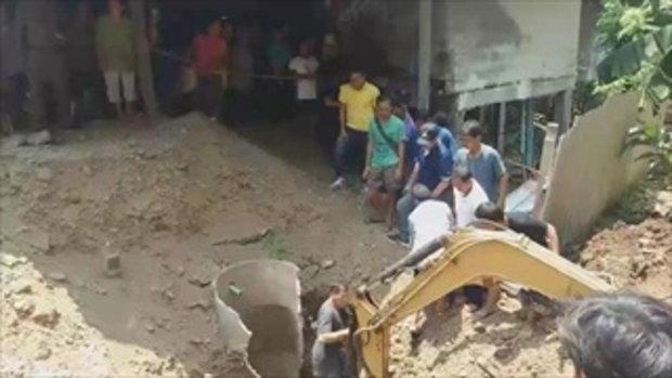 หนุ่มคุมงานสร้างบ้านใหม่ ร่วงตกบ่อส้วม ดินถล่มกลบฝังร่าง-ขาดใจตาย