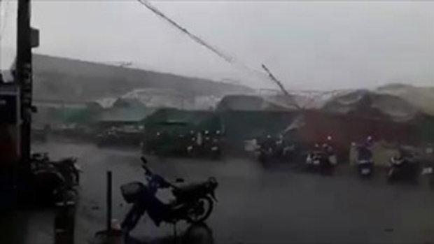 น่ากลัว! เผยวินาทีพายุฤดูร้อนถล่มตลาดไนท์บุรีรัมย์