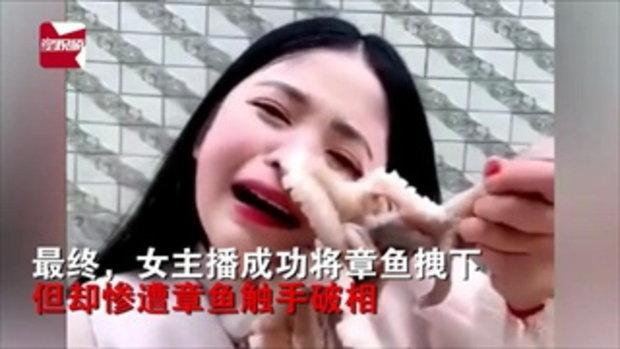 งานเข้า! สาวจีนเล่นกับปลาหมึก จนติดหน้าแกะไม่ออก