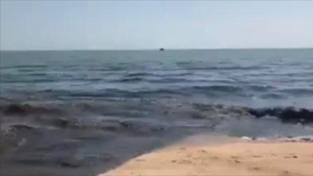 สะพรึง น้ำเน่าดำทะลักลงหาดนาจอมเทียน ส่งกลิ่นเหม็น นักท่องเที่ยวแตกตื่น