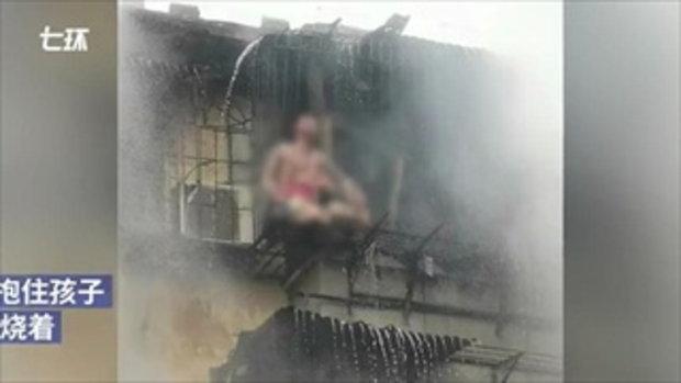 สุดสะเทือนใจ แม่สิ้นใจ พ่อเจ็บหนัก ปกป้องลูกสาวจากไฟไหม้บ้าน