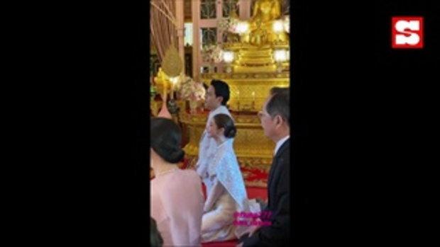 เปิดภาพ ฟลุค-นาตาลี เข้ารับประทานน้ำพระพุทธมนต์ สง่างดงาม คู่รักกิ่งทองใบหยก